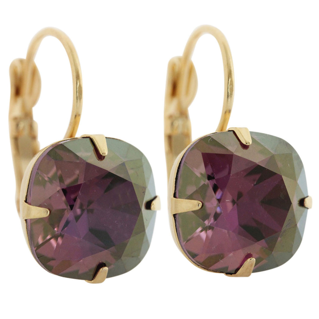 Liz Palacios 14k Gold Plated Large Cushion Swarovski Crystal Earrings, JE-6 Lilac Shadow