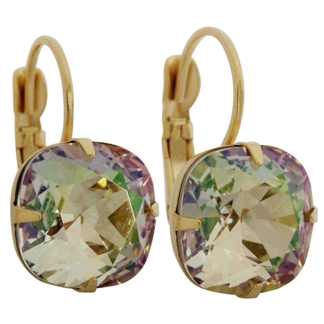 Liz Palacios 14k Gold Plated Large Cushion Swarovski Crystal Earrings, JE-6 Luminous Green