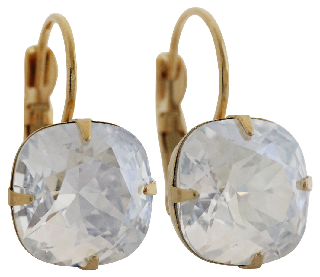 Liz Palacios 14k Gold Plated Large Cushion Swarovski Crystal Earrings, JE-6 Moonlight