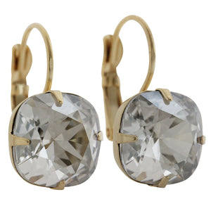 Liz Palacios 14k Gold Plated Large Cushion Swarovski Crystal Earrings, JE-6 Shade