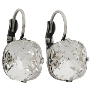 Liz Palacios Sterling Silver Plated Large Cushion Swarovski Crystal Earrings, JE-6 Clear