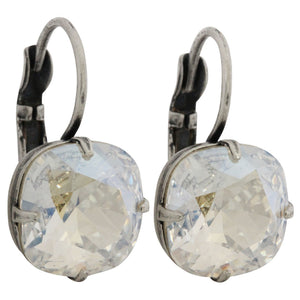 Liz Palacios Sterling Silver Plated Large Cushion Swarovski Crystal Earrings, JE-6 Moonlight