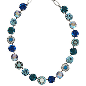 "Mariana Silver Plated Large Daisy Shapes Swarovski Crystal Necklace, 18"" Blue Lagoon 3174 1205"