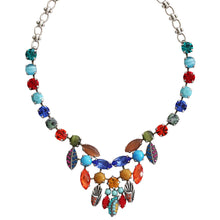 "Mariana ""Fantasy"" Silver Plated Mosaic Drop Dangle Leaf Statement Swarovski Crystal Necklace, 3528 1037"
