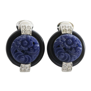 Kenneth Jay Lane Art Deco Simulated Carved Lapis with Black Base Crystal Clip On Earrings 7601EBL