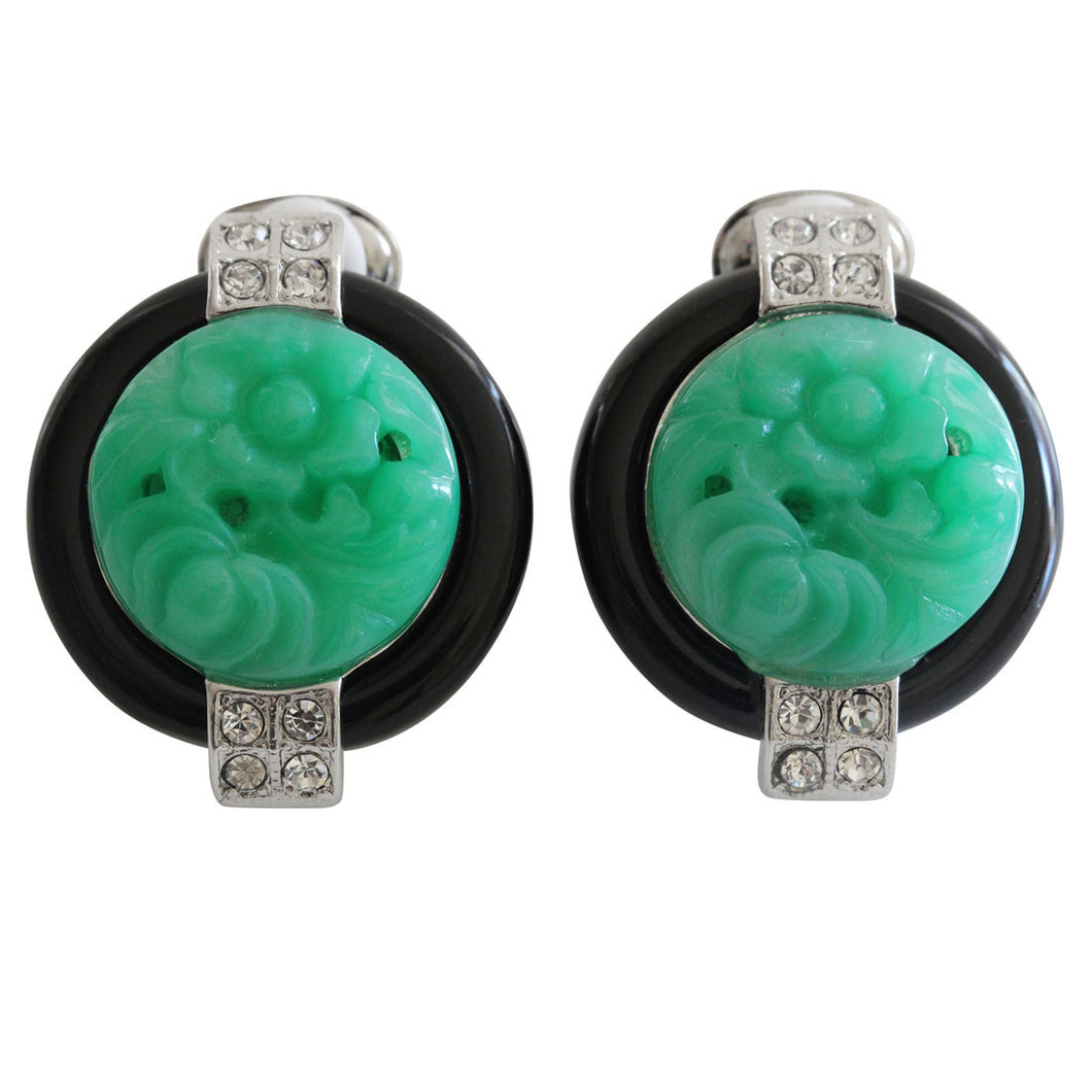 Kenneth Jay Lane Art Deco Simulated Carved Jade with Black Base Crystal Clip On Earrings 7601EBJ