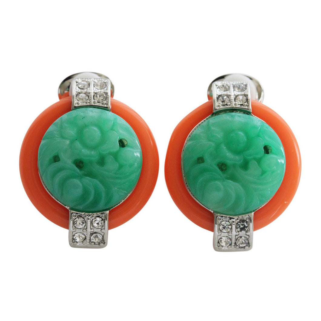 Kenneth Jay Lane Art Deco Simulated Carved Jade with Coral Base Crystal Clip On Earrings 7601ECJ