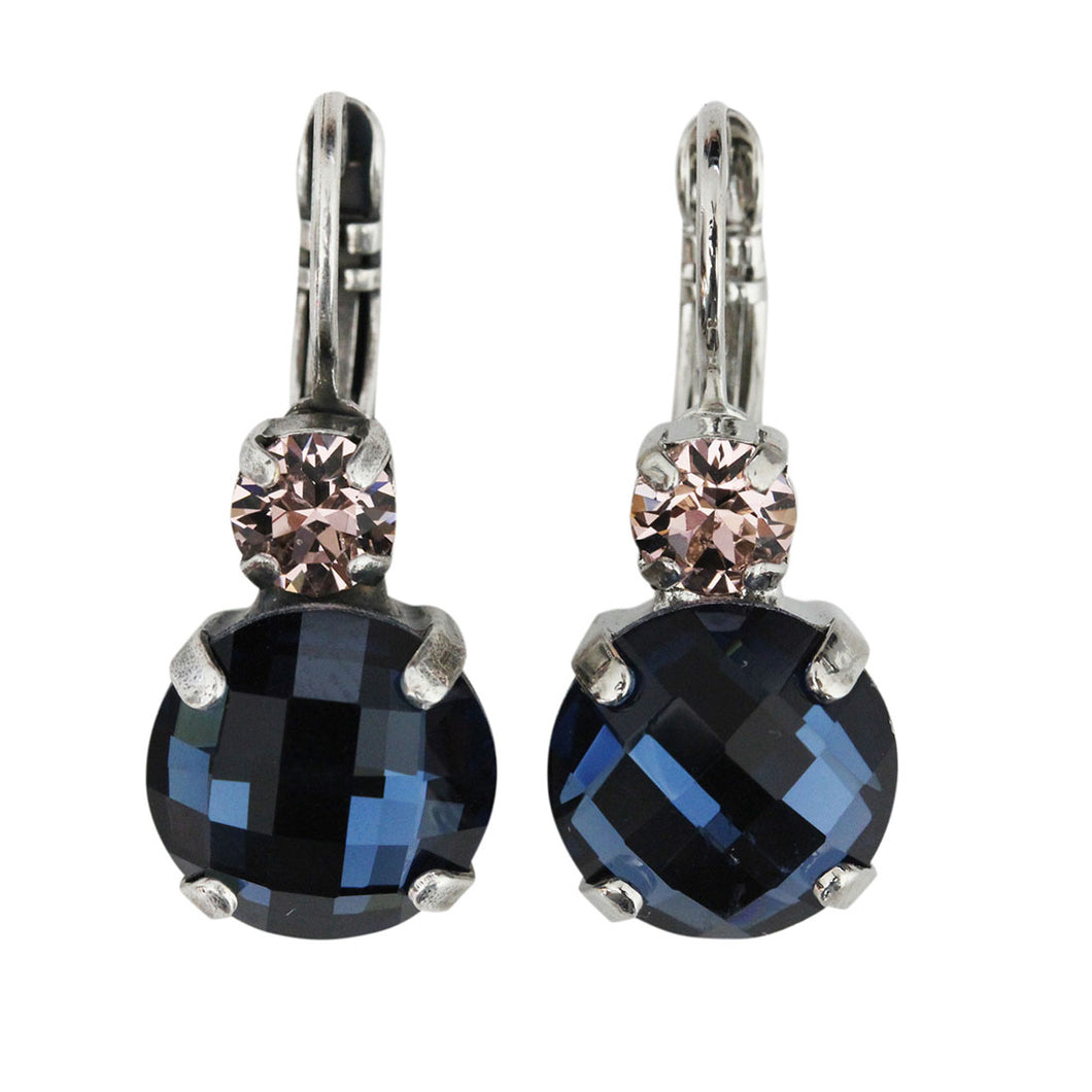 Mariana Silver Plated Double Drop Checkered Medium Crystal Earrings, Blue Morpho 1037 1118