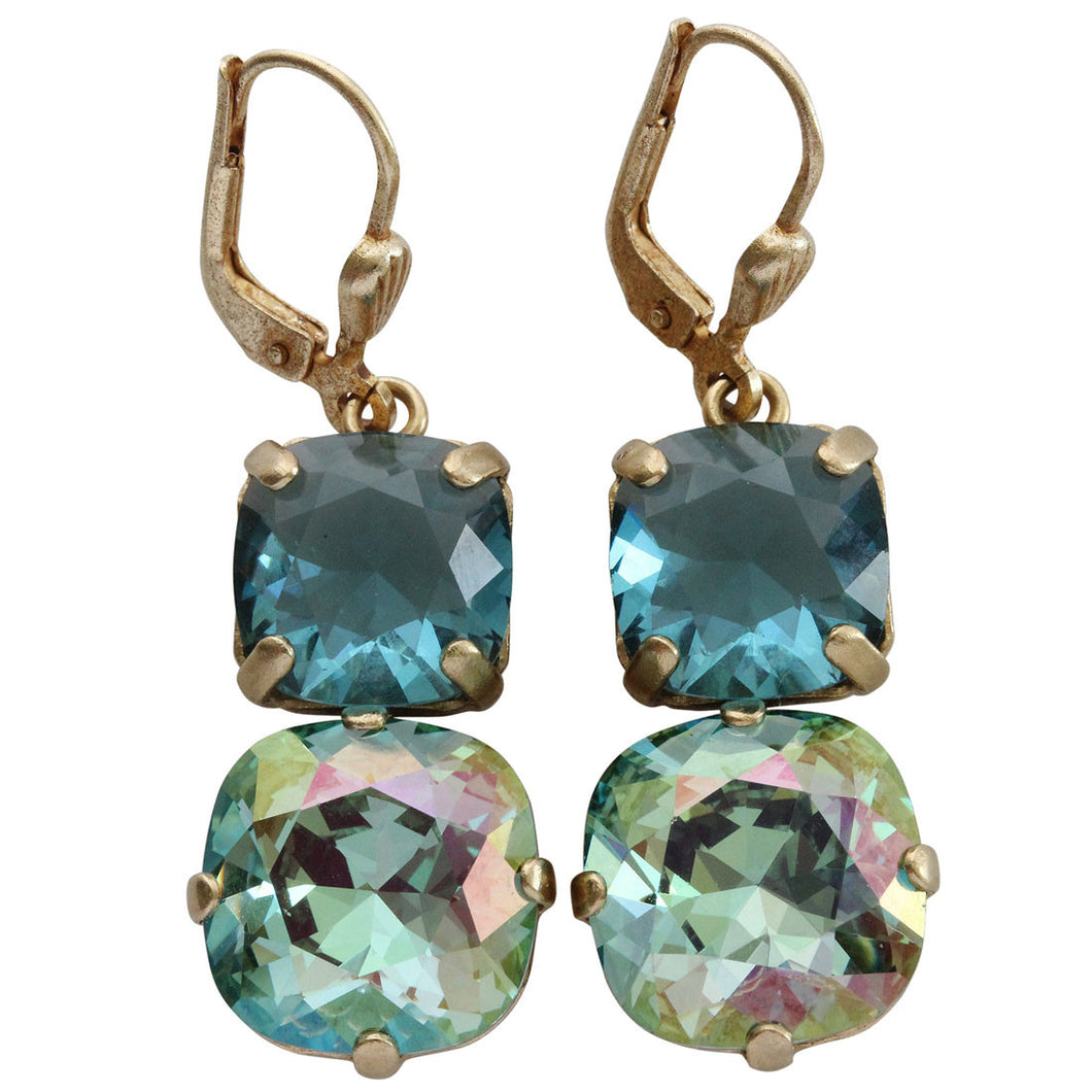 Catherine Popesco 14k Gold Plated Double Swarovski Crystal Statement Earrings, 6503G Ocean Teal
