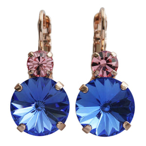 "Mariana ""Kiss from a Rose"" Rose Gold Plated Double Drop Rivoli Cut Round Swarvoski Crystal Earrings, Sapphire Blue Pink 1037R 223206rg"