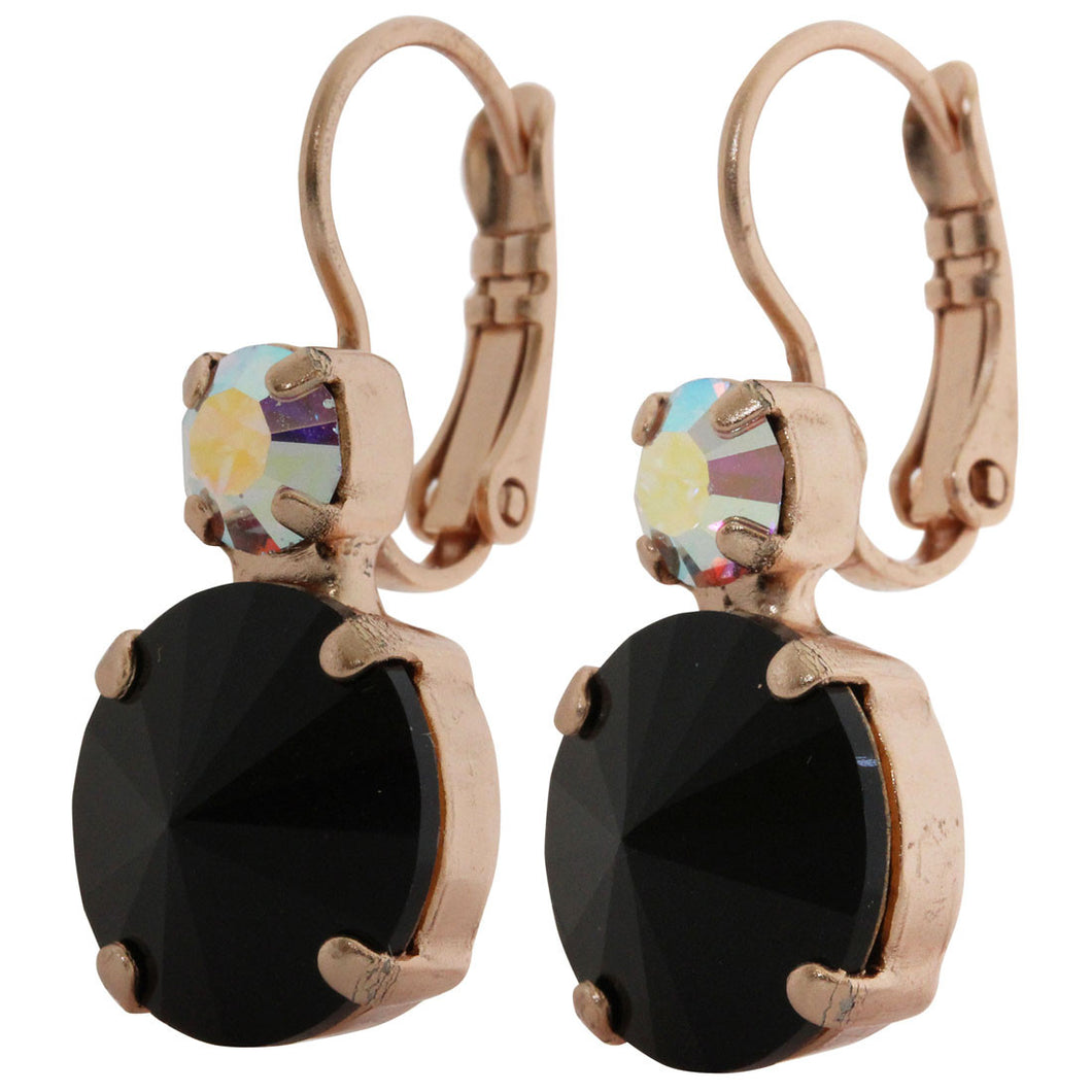 Mariana Rose Gold Plated Double Drop Rivoli Medium Crystal Earrings, Tuxedo 1037R 3701rg