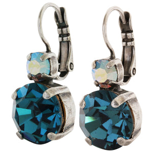 Mariana Silver Plated Double Drop Medium Crystal Earrings, Blue Lagoon 1037 1205