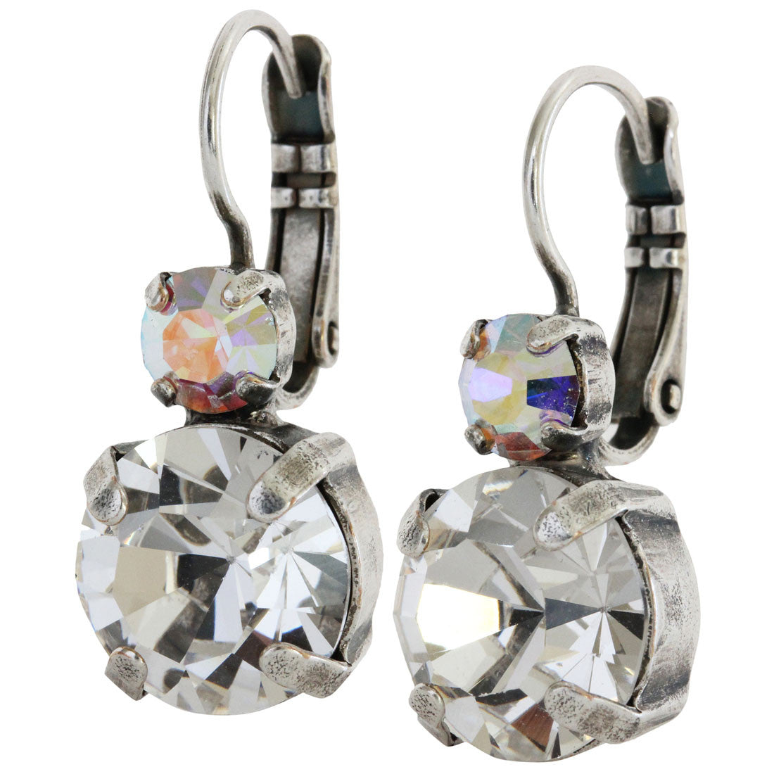 Mariana Silver Plated Double Drop Medium Crystal Earrings, Crystal AB 1037 001