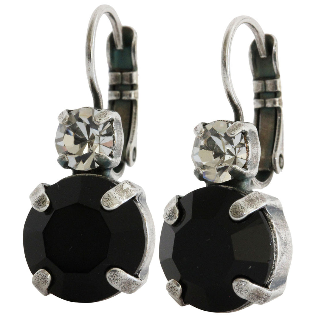 Mariana Silver Plated Double Drop Medium Crystal Earrings, Checkmate 1037 280-1