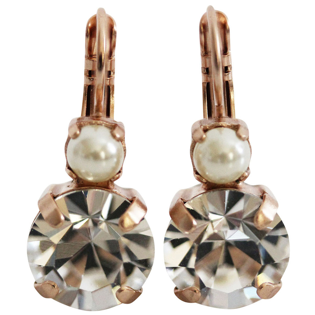 Mariana Rose Gold Plated Double Drop Medium Crystal Earrings, Crystal Pearl 1037 M48001mr