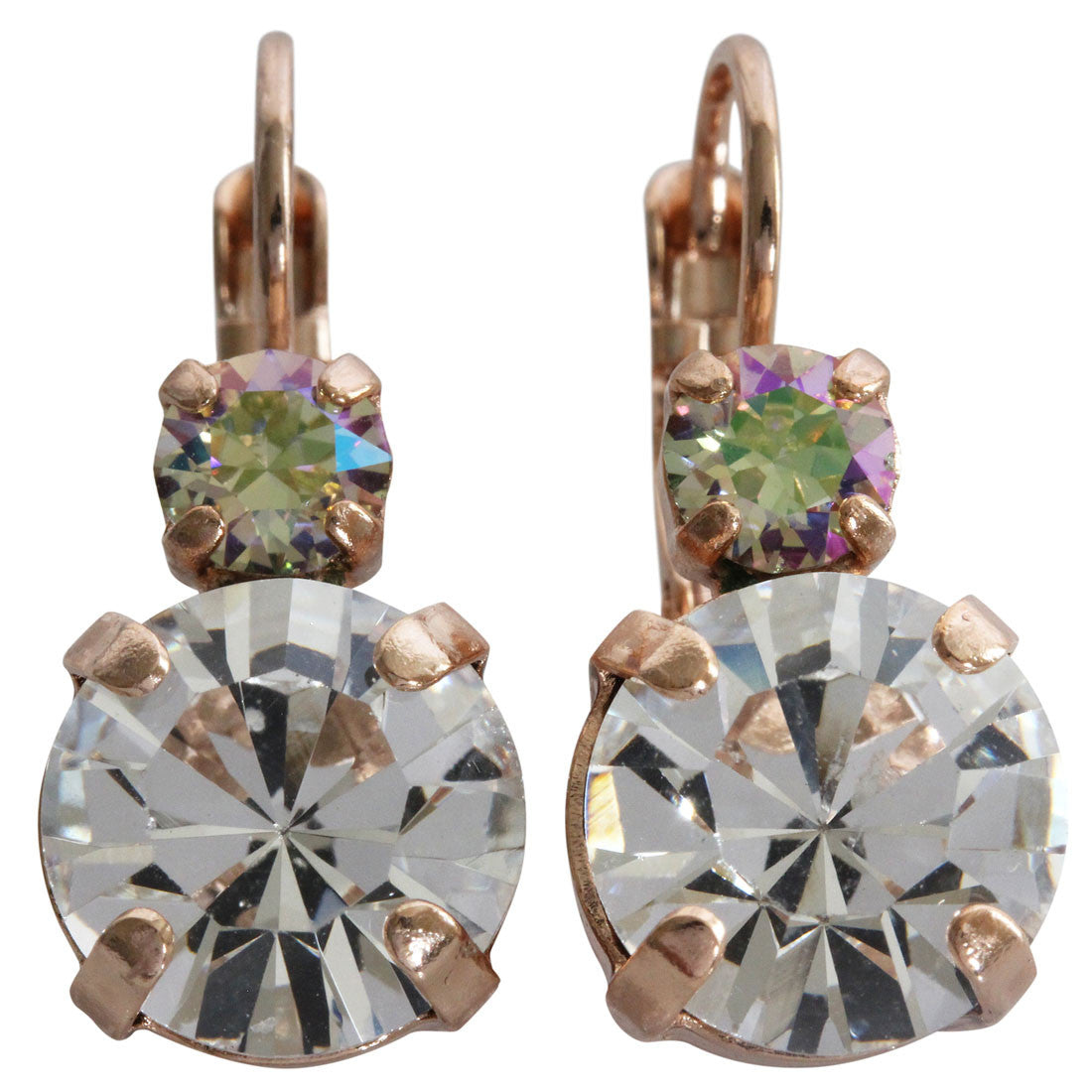 Mariana Rose Gold Plated Double Drop Medium Crystal Earrings, Casablanca 1037 1006rg
