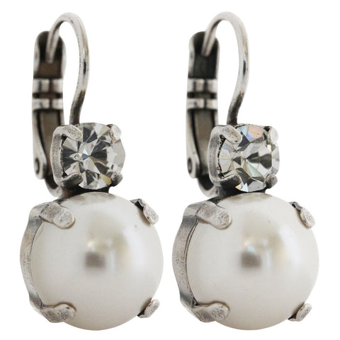 Mariana Silver Plated Double Drop Medium Crystal Earrings, Crystal Pearls 1037 001M48