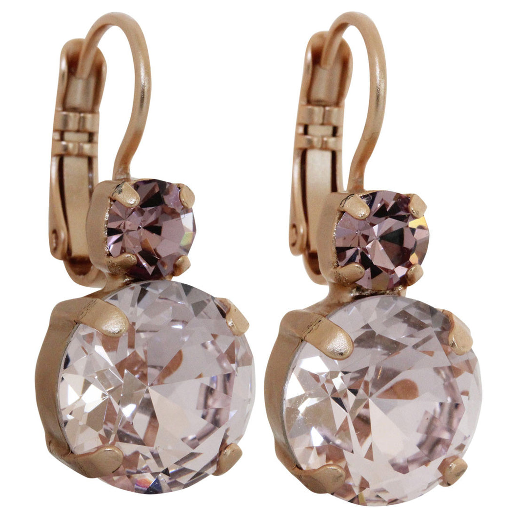 Mariana Rose Gold Plated Double Drop Medium Crystal Earrings, Pink Petal 1037A 319mr