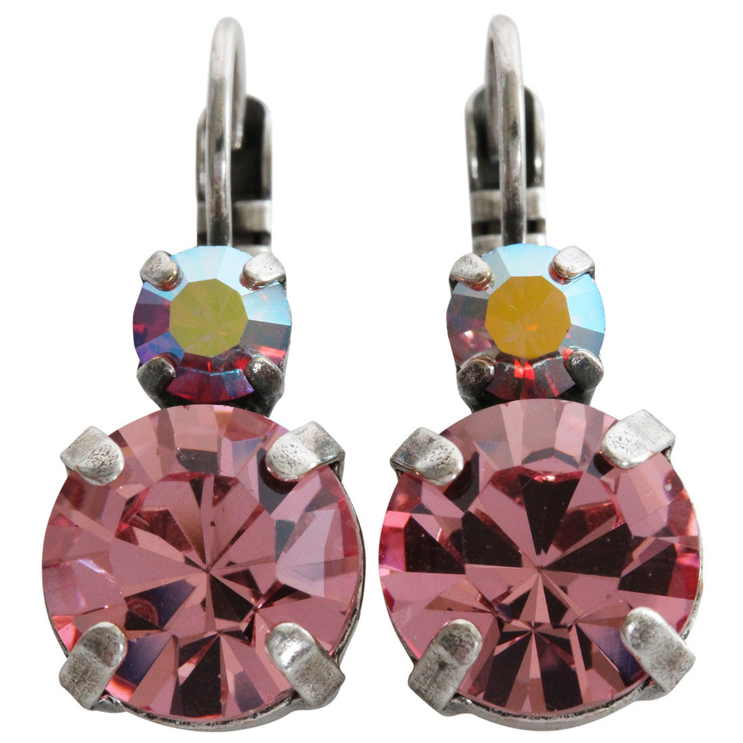 Mariana Silver Plated Double Drop Medium Crystal Earrings, Pink AB 1037 2230