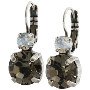 "Mariana ""Black Diamond"" Silver Plated Double Drop Medium Crystal Earrings, 1037 512"