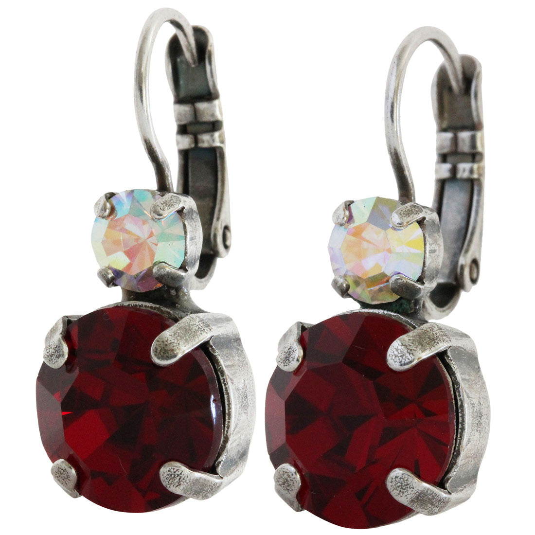 Mariana Silver Plated Double Drop Medium Crystal Earrings, True Romance 1037 2300