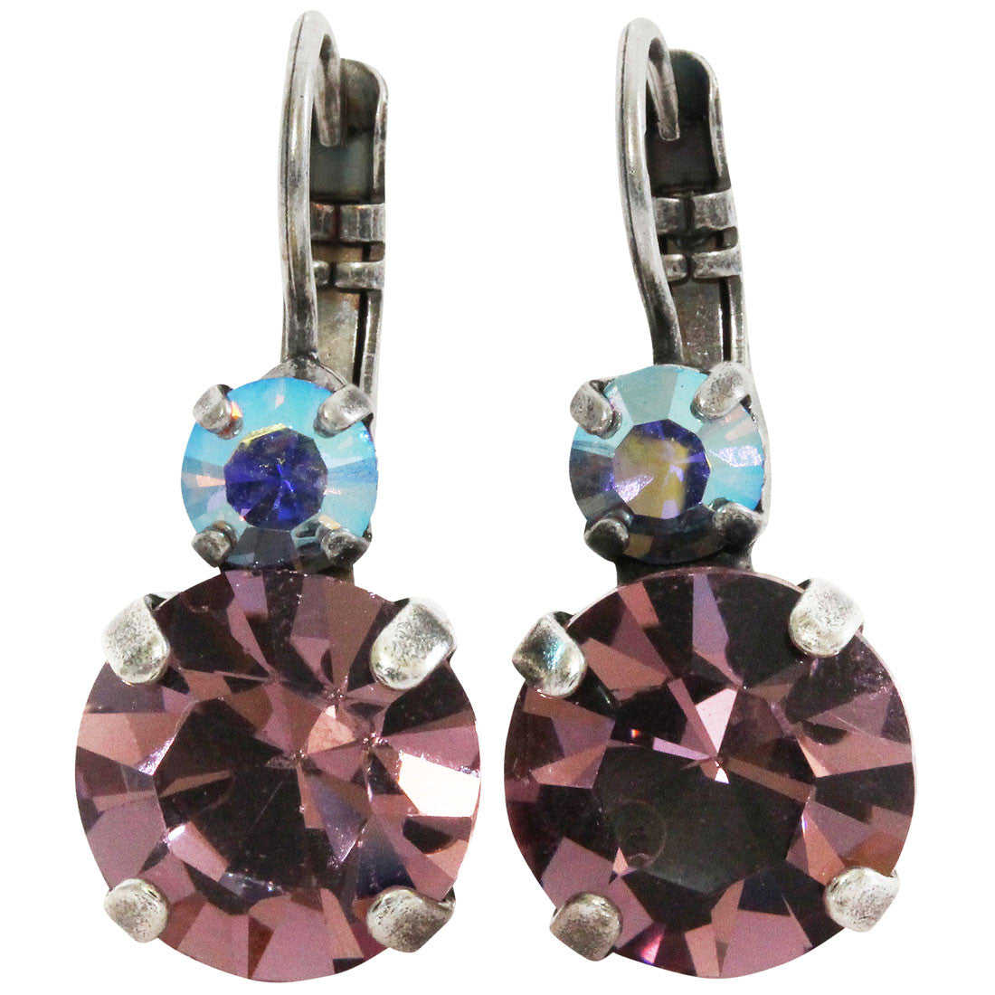 Mariana Silver Plated Double Drop Medium Crystal Earrings, Purple Aqua 1037 153
