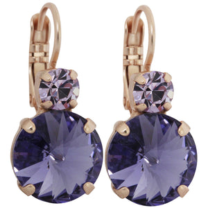 Mariana Rose Gold Plated Double Drop Rivoli Medium Crystal Earrings, Purple 1037R 371539mr