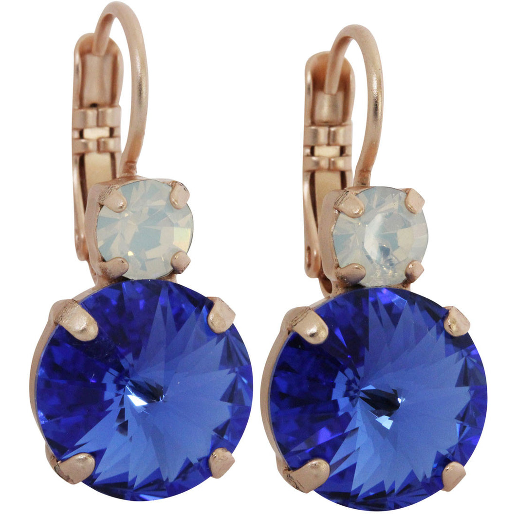 Mariana Rose Gold Plated Double Drop Rivoli Medium Crystal Earrings, Blue 1037R 234206mr