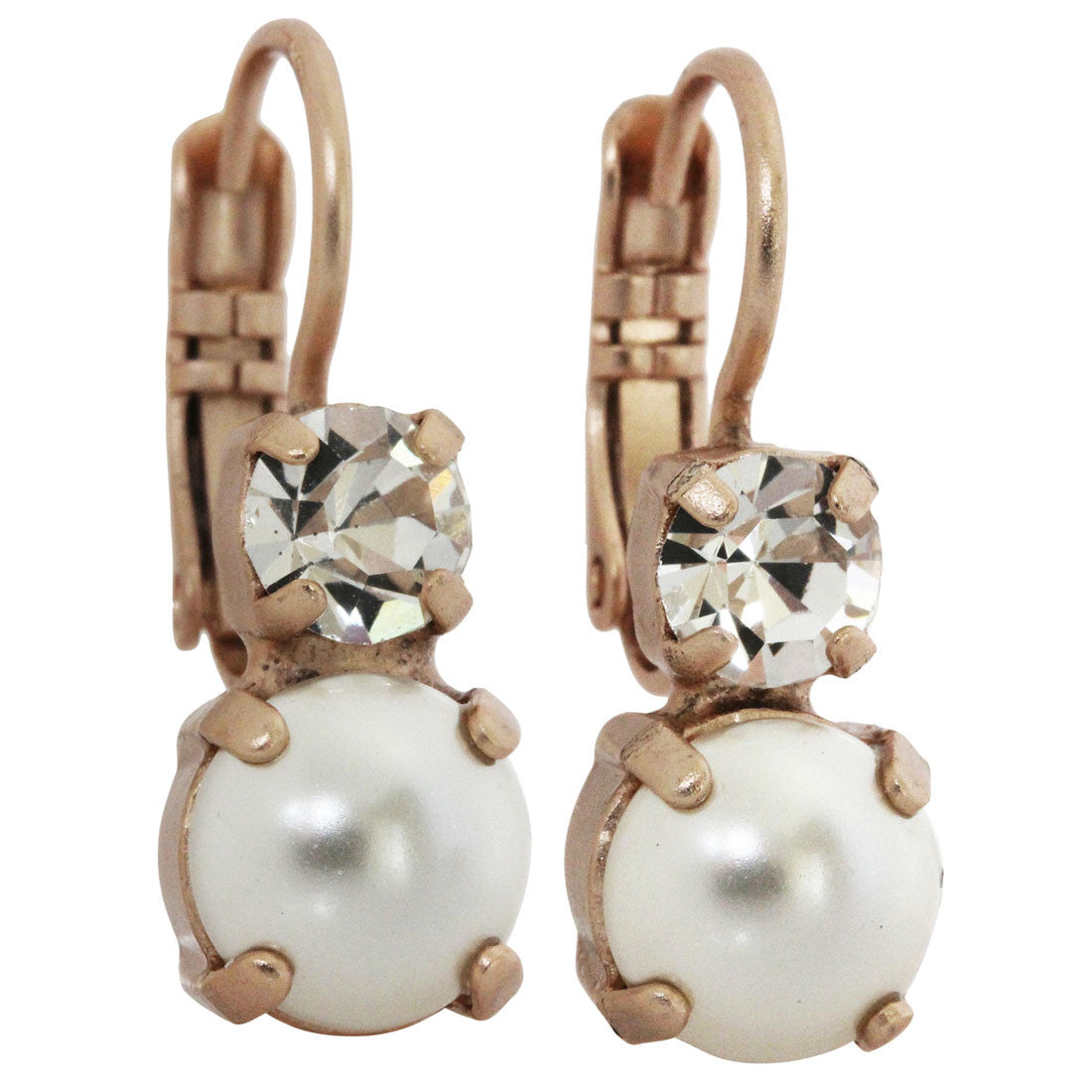 Mariana Rose Gold Plated Double Drop Small Swarovski Crystal Earrings, Crystal Pearls 1190 001M48mr