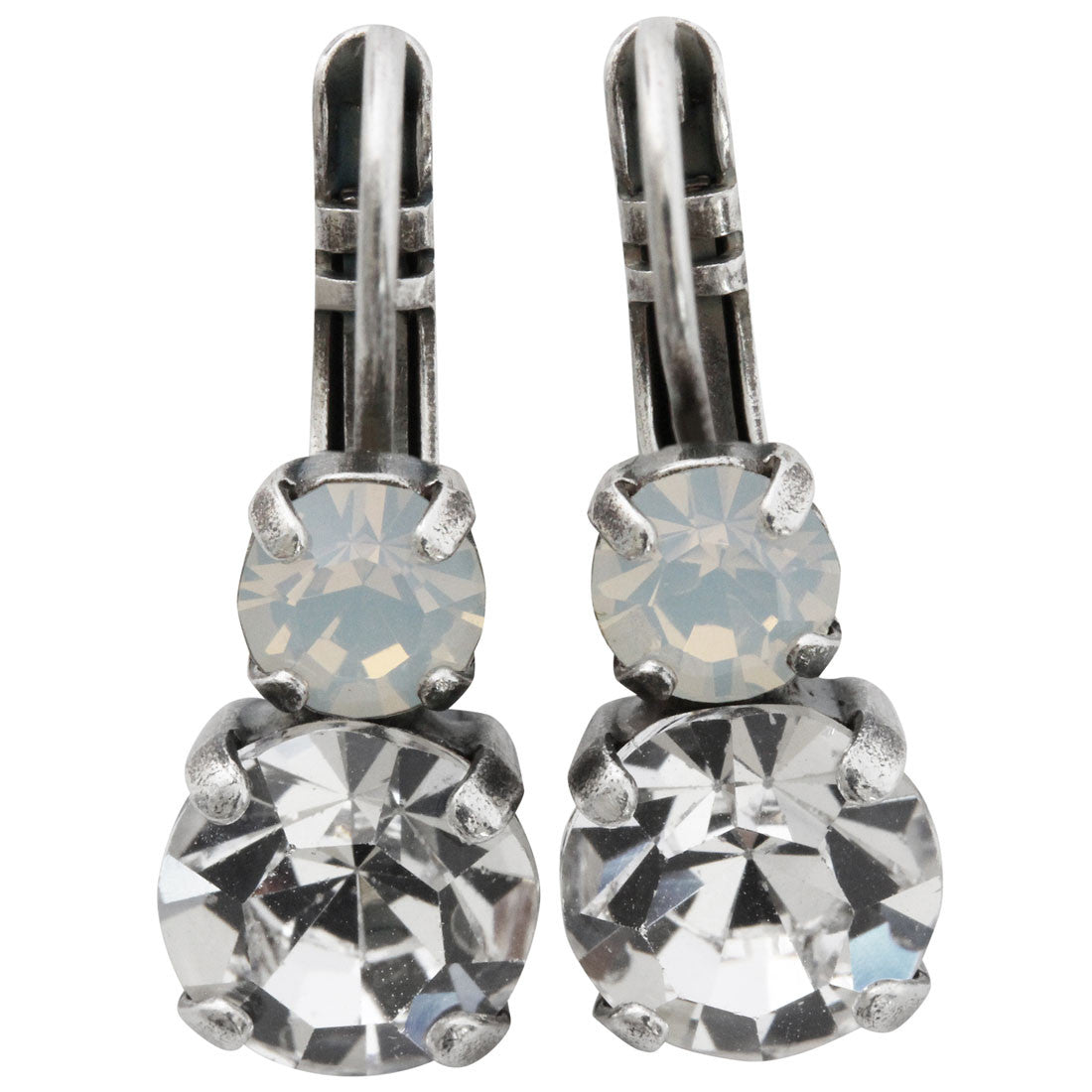 Mariana Silver Plated Double Drop Small Swarovski Crystal Earrings, Clear White Opal 1190 001