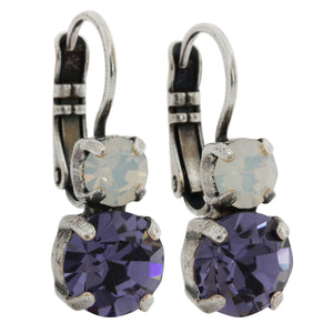 Mariana Purple Rain Silver Plated Double Drop Small Swarovski Crystal Earrings, 1190 1062