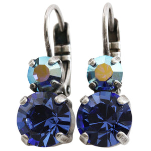 Mariana Silver Plated Double Drop Small Swarovski Crystal Earrings, Blue AB 1190 206