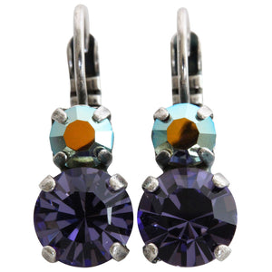 Mariana Silver Plated Double Drop Small Swarovski Crystal Earrings, Purple 1190 539