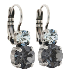 "Mariana ""Zulu"" Silver Plated Double Drop Small Swarovski Crystal Earrings, 1190 1080"