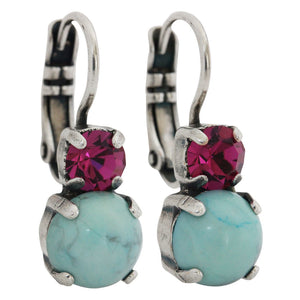 "Mariana ""Masai"" Silver Plated Double Drop Small Swarovski Crystal Earrings, 1190 M1077"