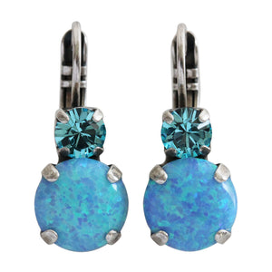 "Mariana ""Italian Ice"" Silver Plated Double Drop Swarovski Crystal Earrings, Blue 1062 263M52"