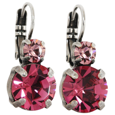 Mariana Silver Plated Double Drop Medium Crystal Earrings, Fuchsia Pink 1037 223209