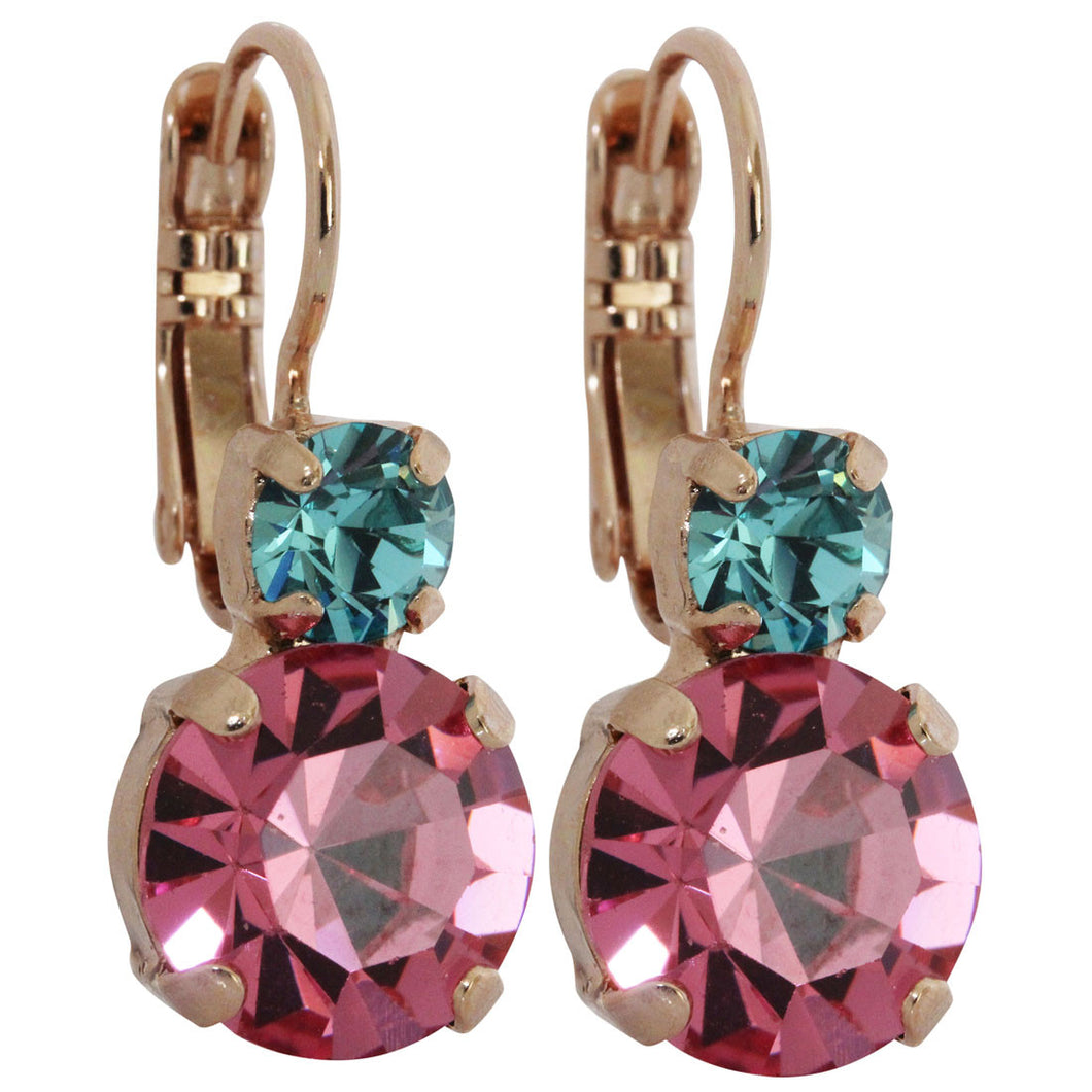 Mariana Rose Gold Plated Double Drop Medium Crystal Earrings, Margarita 1062 1064rg
