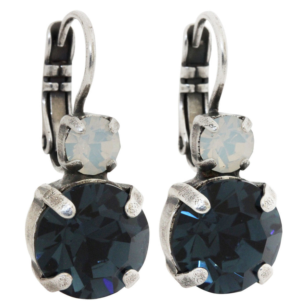 Mariana Silver Plated Double Drop Medium Swarovski Earrings, Mood Indigo 1037 1069