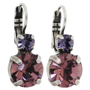 Mariana Purple Rain Silver Plated Double Drop Medium Swarovski Earrings, 1037 1062