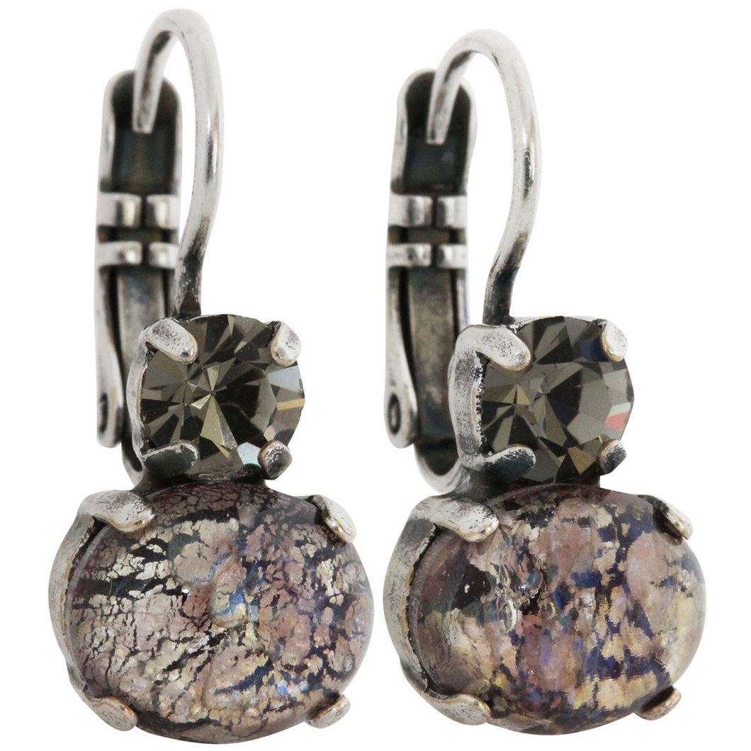Mariana Silver Plated Double Oval Small Crystal Earrings, Desert Dawn 1462 3191
