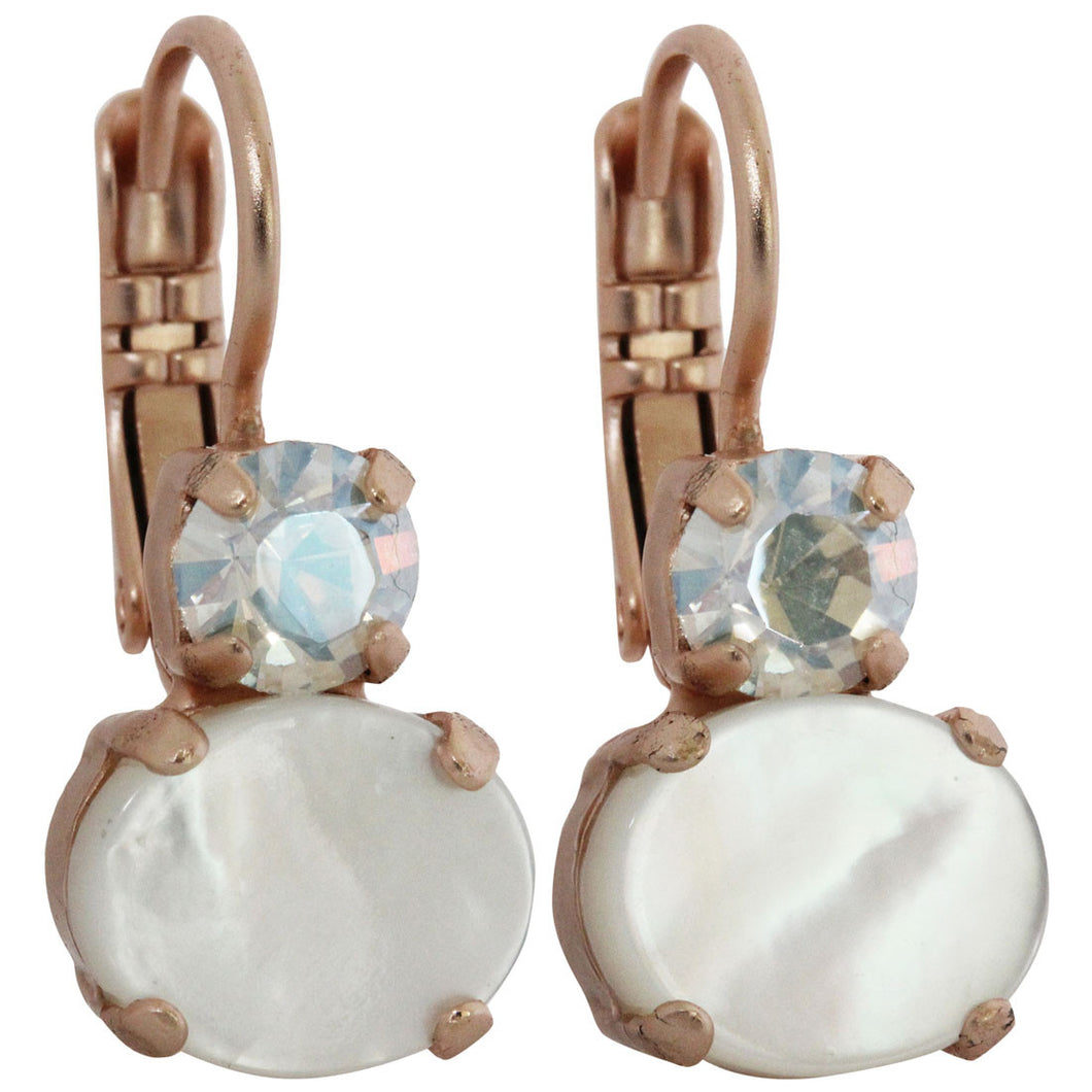 Mariana Rose Gold Plated Double Oval Small Crystal Earrings, Forever 1462 M5087mr