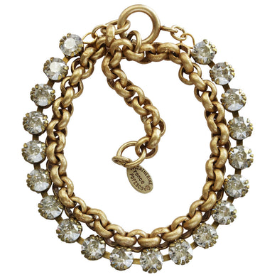 Catherine Popesco 14k Gold Plated Double Wrap Tennis Chain Link Crystal Bracelet, 7.5