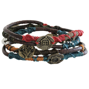 "Wakami Dream Leather Wrap Bracelet, 6 3/4"" Multi wa0344"