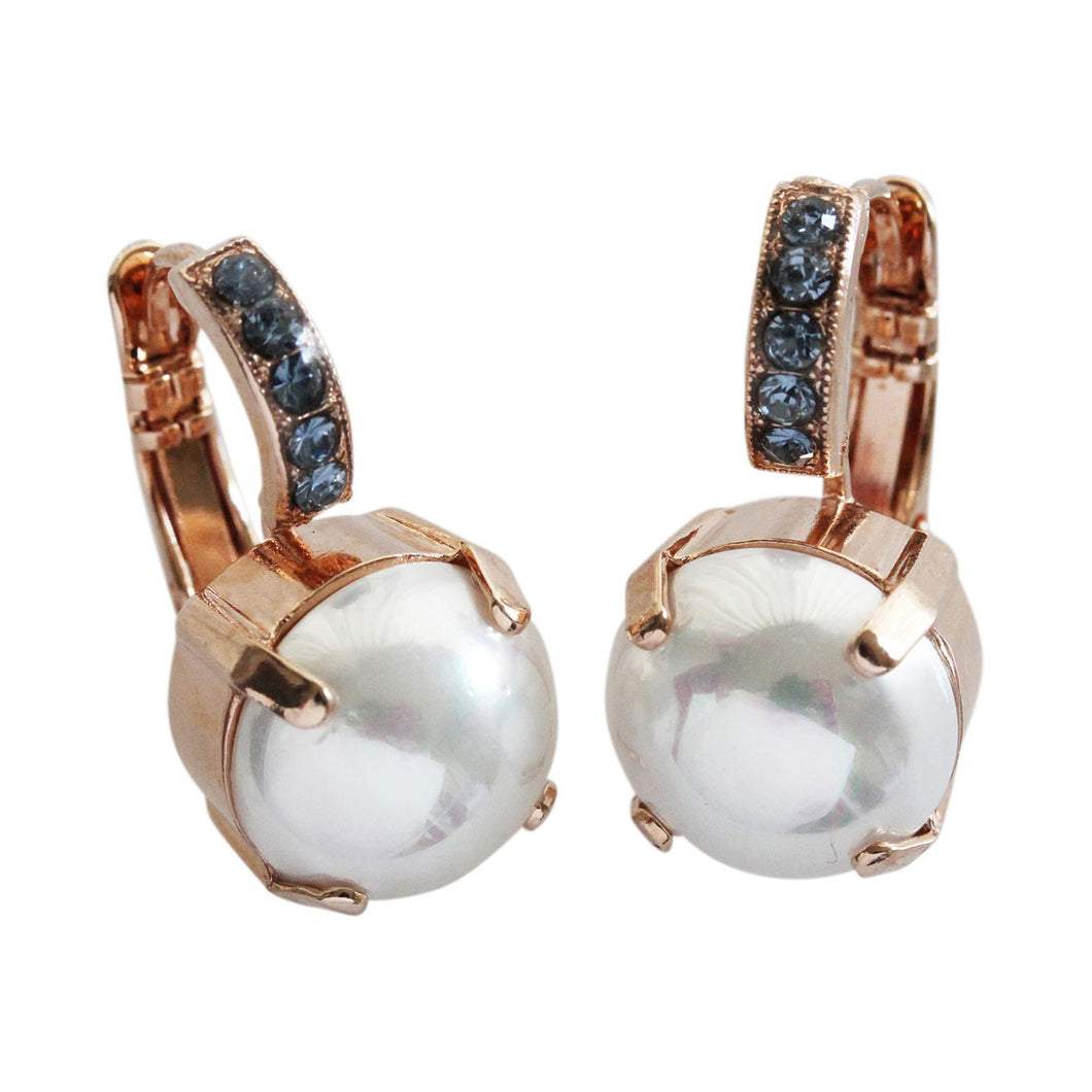 Mariana Rose Gold Plated Drop Bail Swarovski Crystal Earrings, Pearl Blue 1056 139-1rg