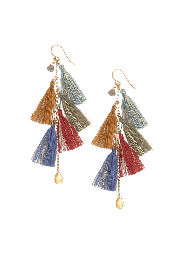 Chan Luu Multi Color Metallic Tassel Fabric Statement Earrings EG-4795