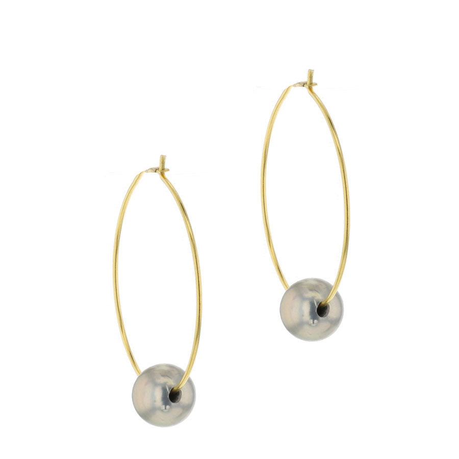 Chan Luu Grey Floating Pearl Hoop Gold Plated Earrings EG-4799