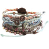 "Wakami Earth Bracelet, 6.5-7"" Multi Pastel Morning Day 7 Strand wa0389-10"