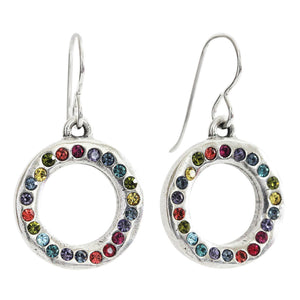 Patricia Locke Eddy Sterling Silver Plated Round Ring Colorful Rainbow Swarovski Earrings, Celebration EF1059S