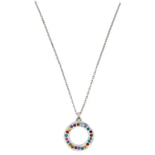 Patricia Locke Eddy Sterling Silver Plated Swarovski Round Ring Rainbow Pendant Necklace, NK0612S Celebration